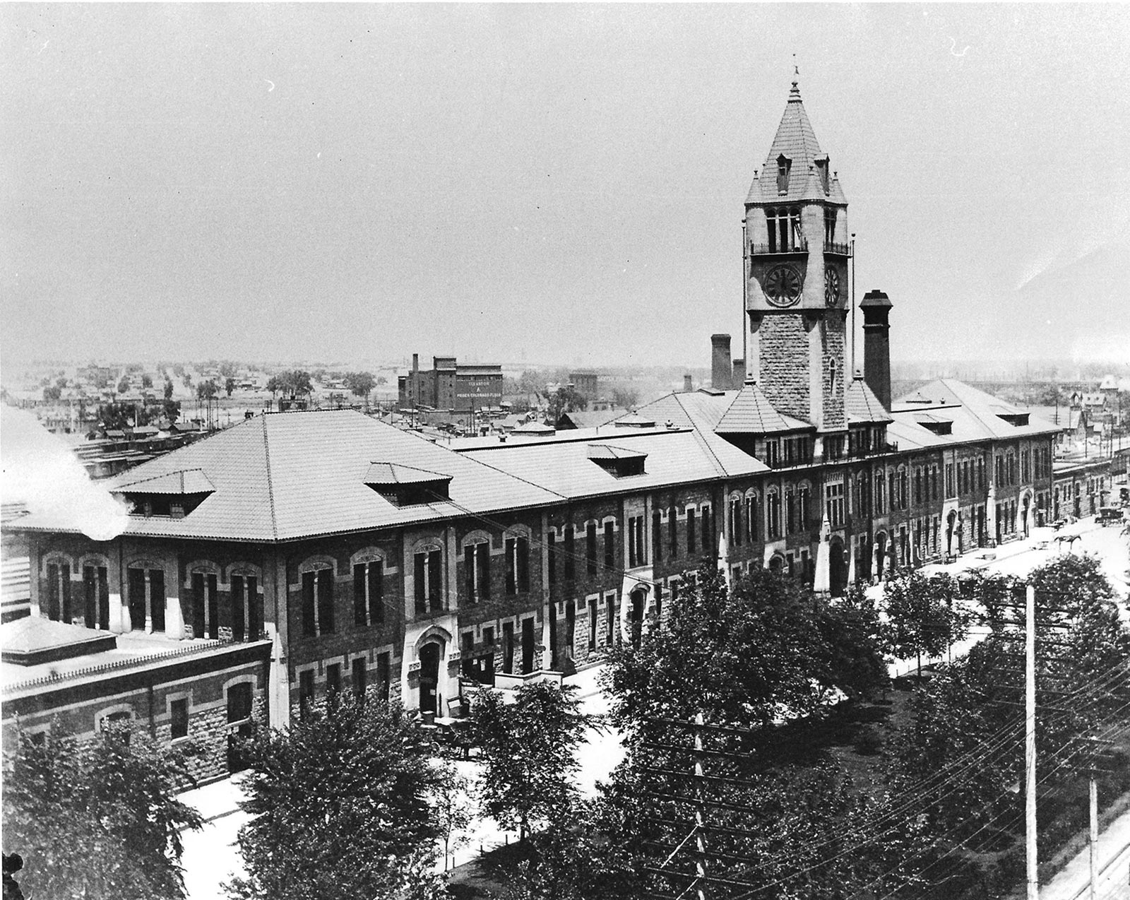 1894 Union Station after fire with new clocktower and simplified roofline. Photo courtesy of History Colorado (F50.883).