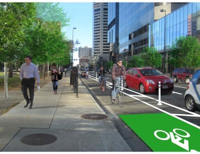 Proposed protected bike lane on Arapahoe Street