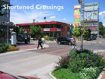 Example of a curb extensions that shortens crossing distance. Image courtesy of Denver Public Works.