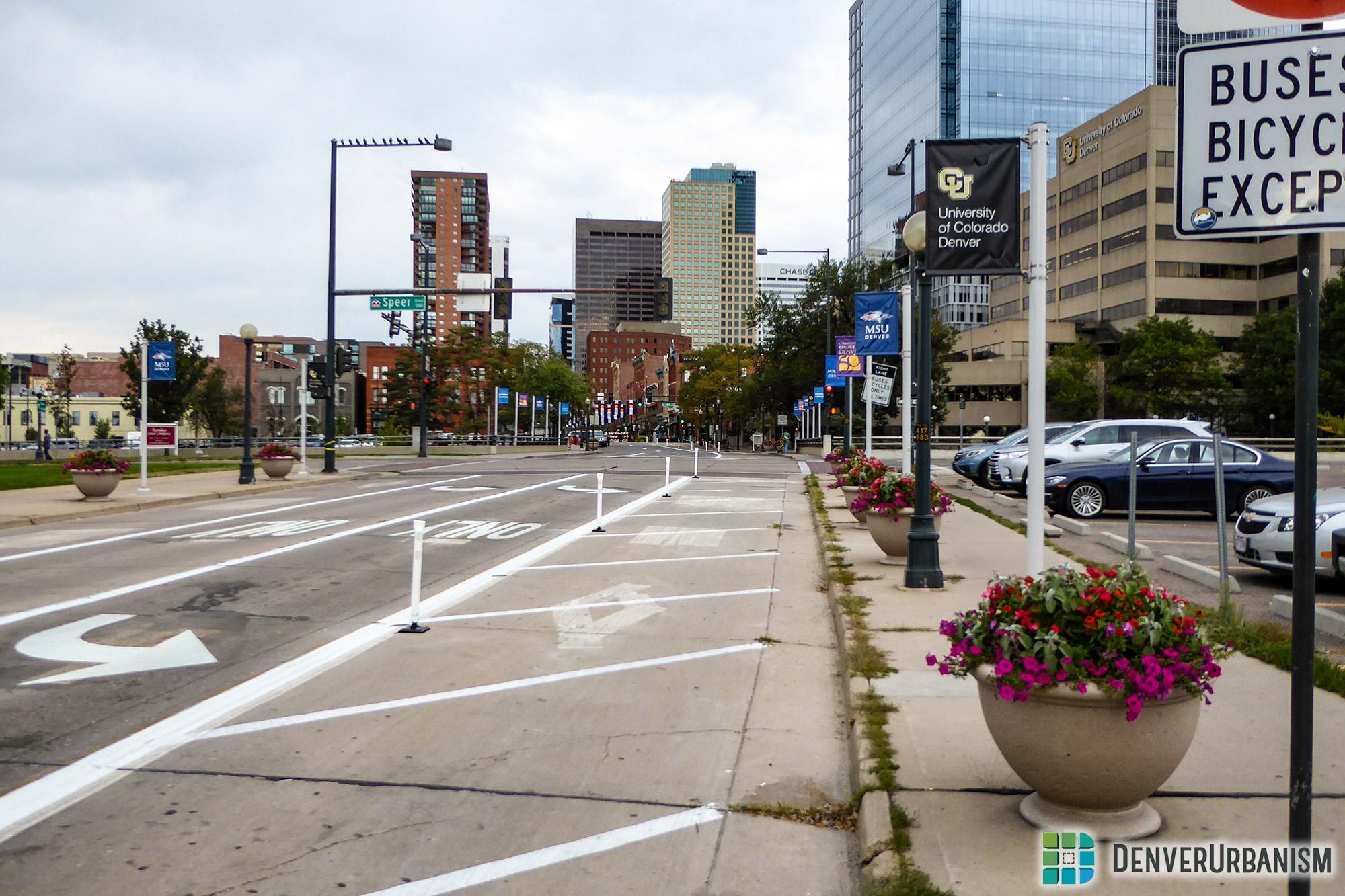 New pedestrian enhancements on Larimer between northbound and southbound Speer Boulevard