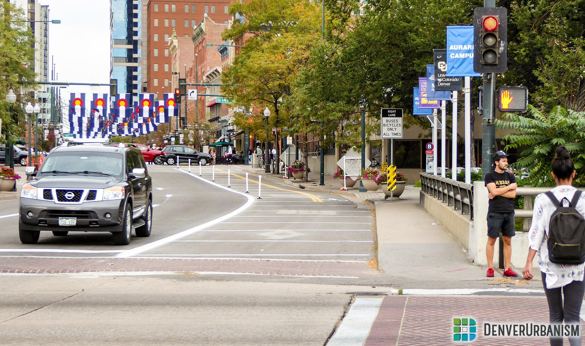 New no-car zone on Larimer Street bridge over Cherry Creek