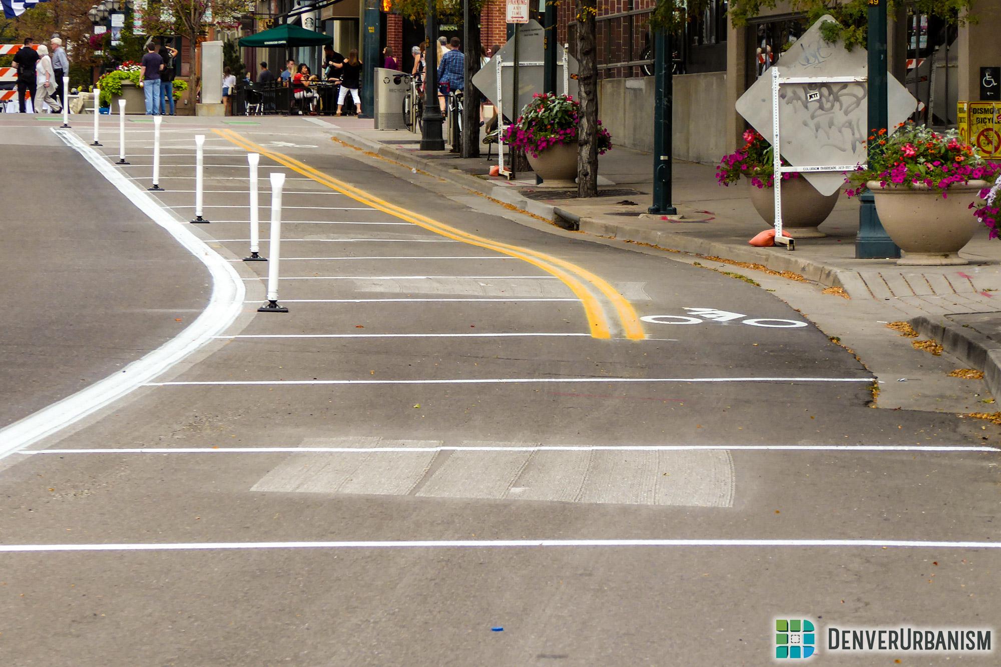 New bike lane on Larimer Street from Creekfront Plaza to 14th Street