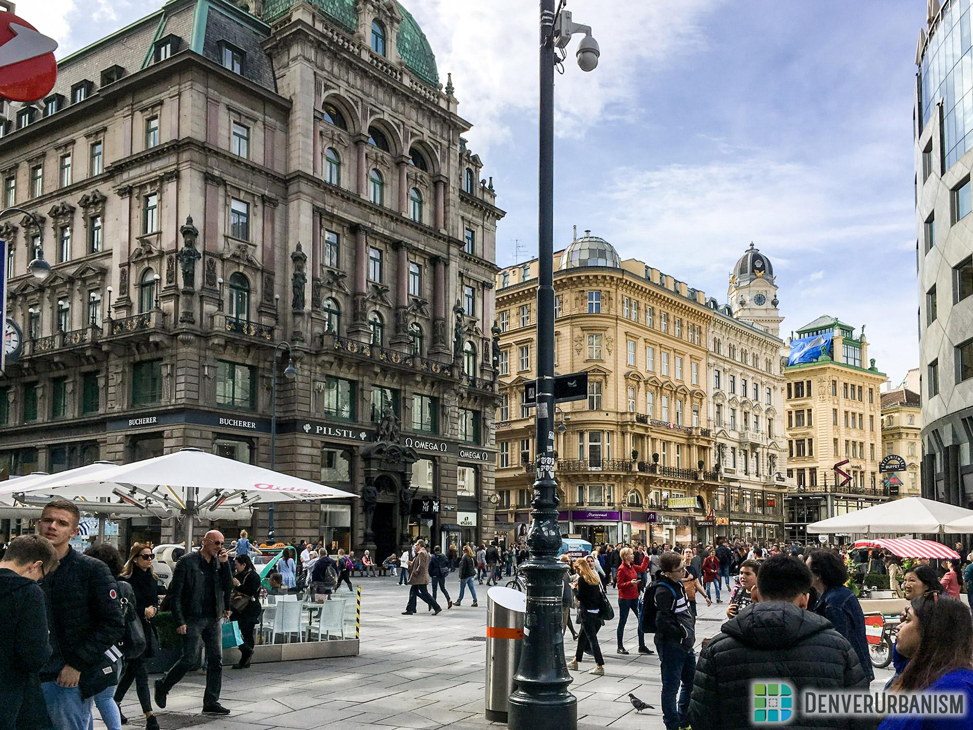 Pedestrian-prioritized streets in Vienna, Austria