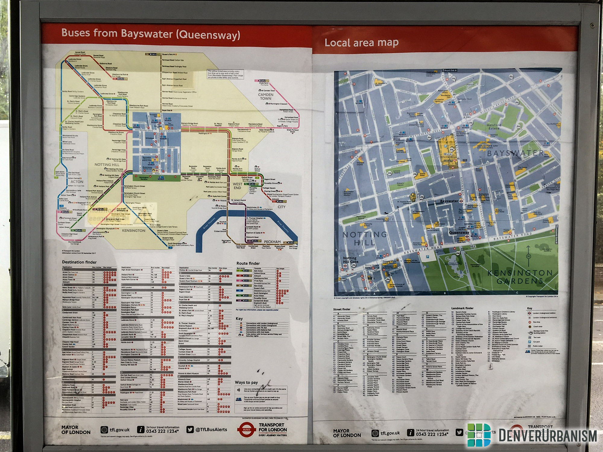 Transit maps and wayfinding signs for London metro system
