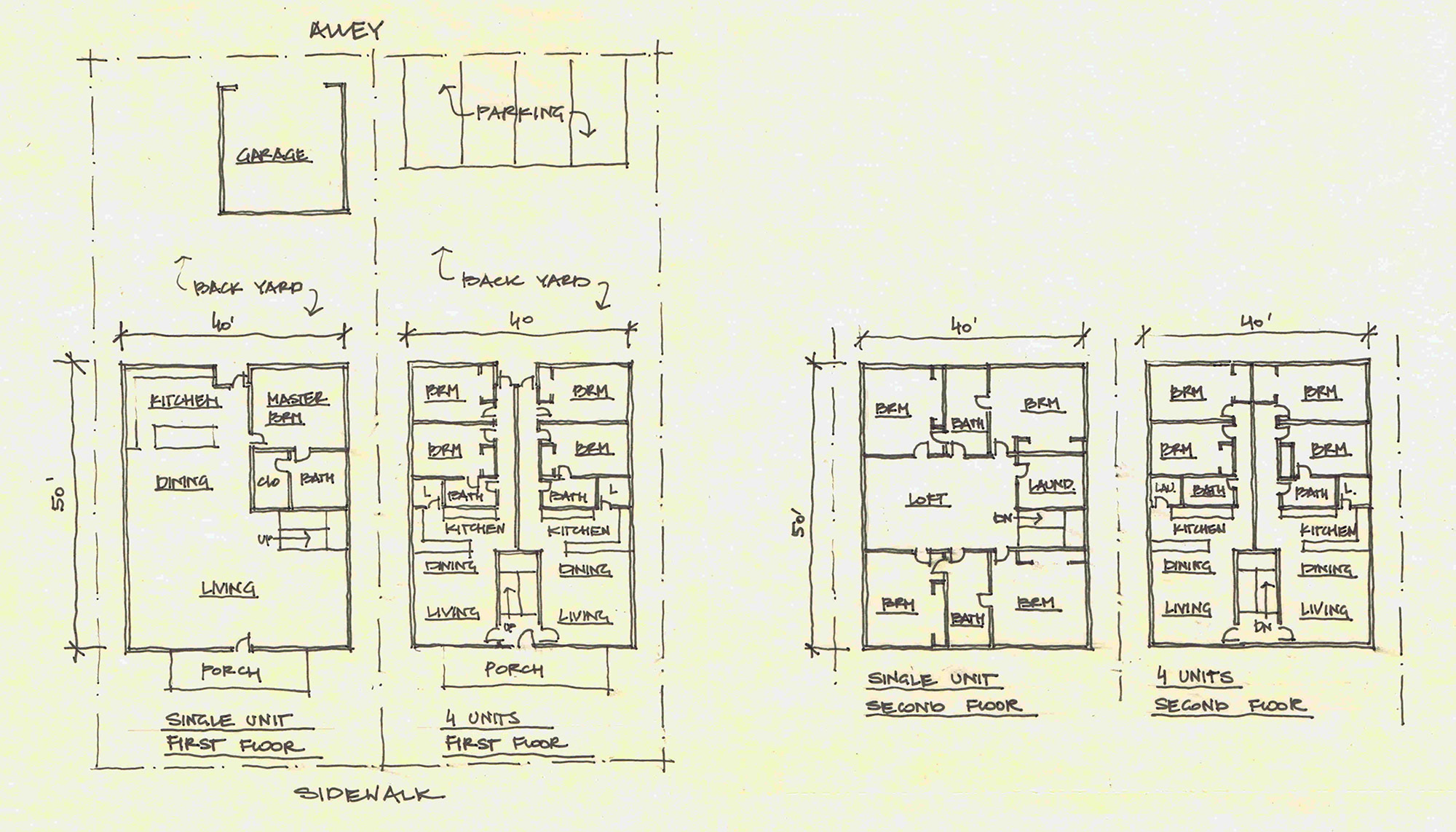 Building plans showing how four homes can fit into the same space as one large home