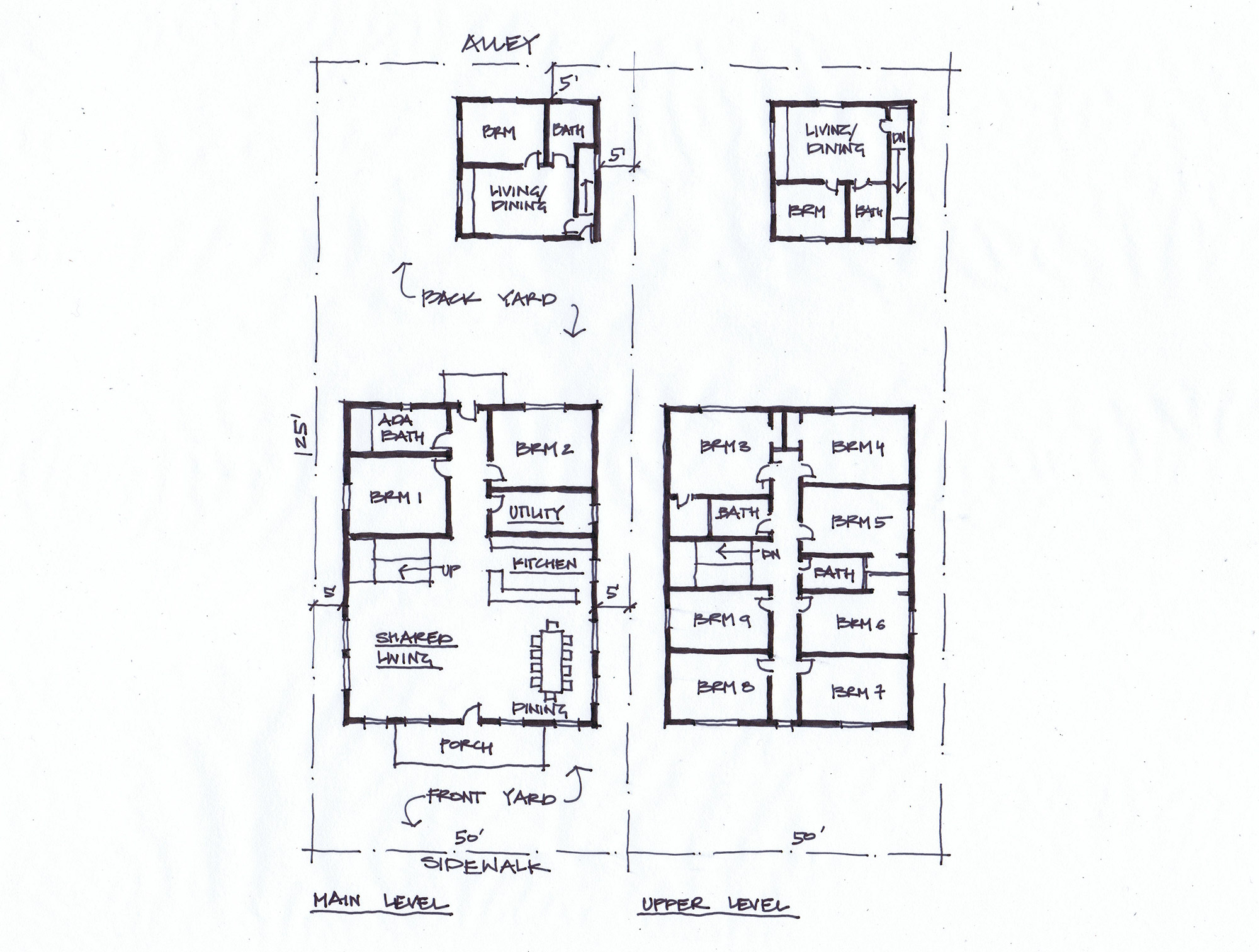 "Architectural doodle illustrating how a typical residential zone lot in Denver can accommodate a community of 11-14 individuals within ""Urban House with ADU"" building forms (by Gosia Kung)"