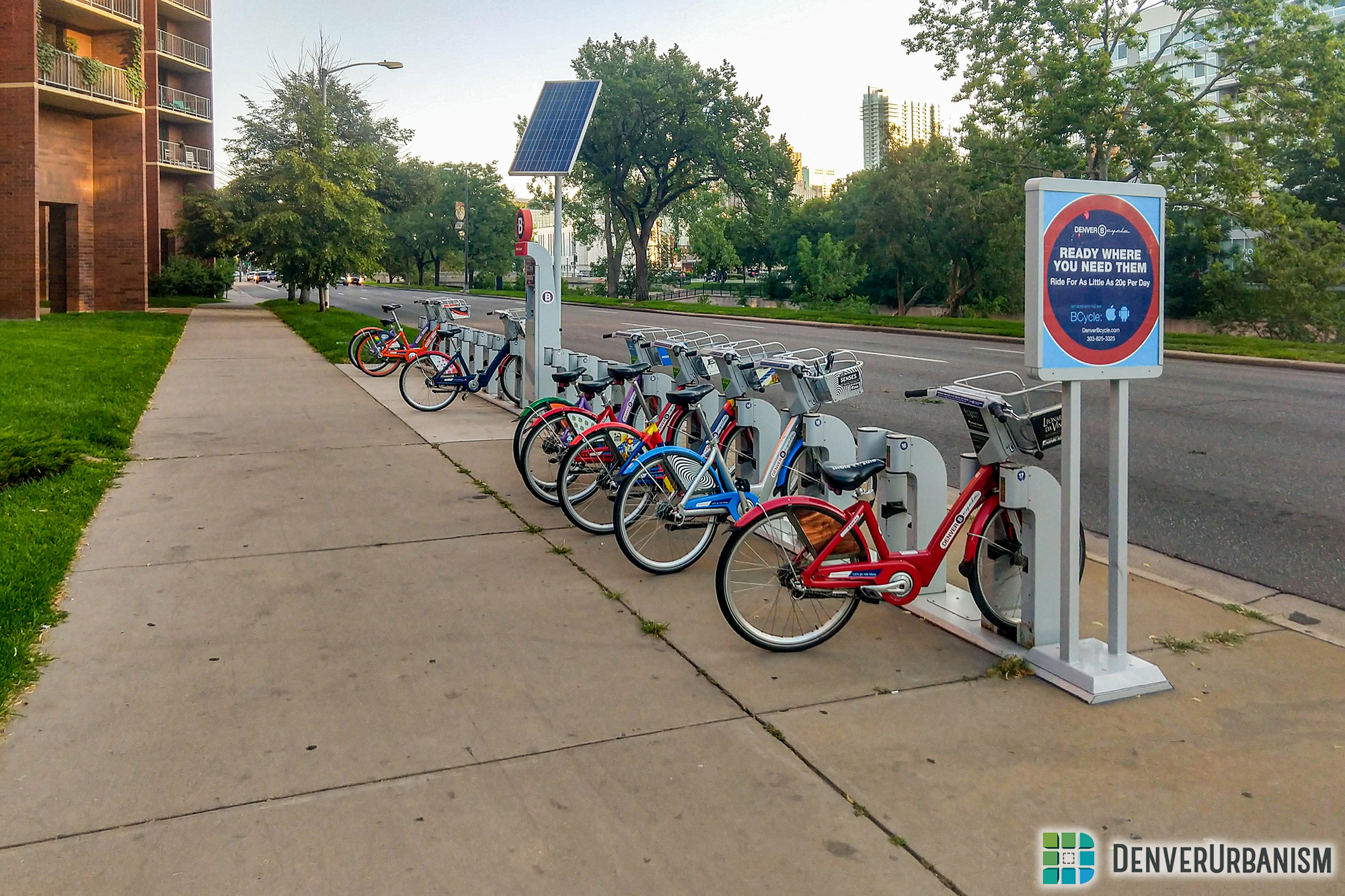 B-Cycle station at 13th and Speer